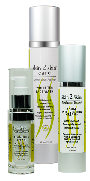 Skin 2 Skin's Anti-Aging 101 Preventing Aging Skin Set, White Tea Face Wash, Revitalizing Eye Gel & Aging Intervention Cream