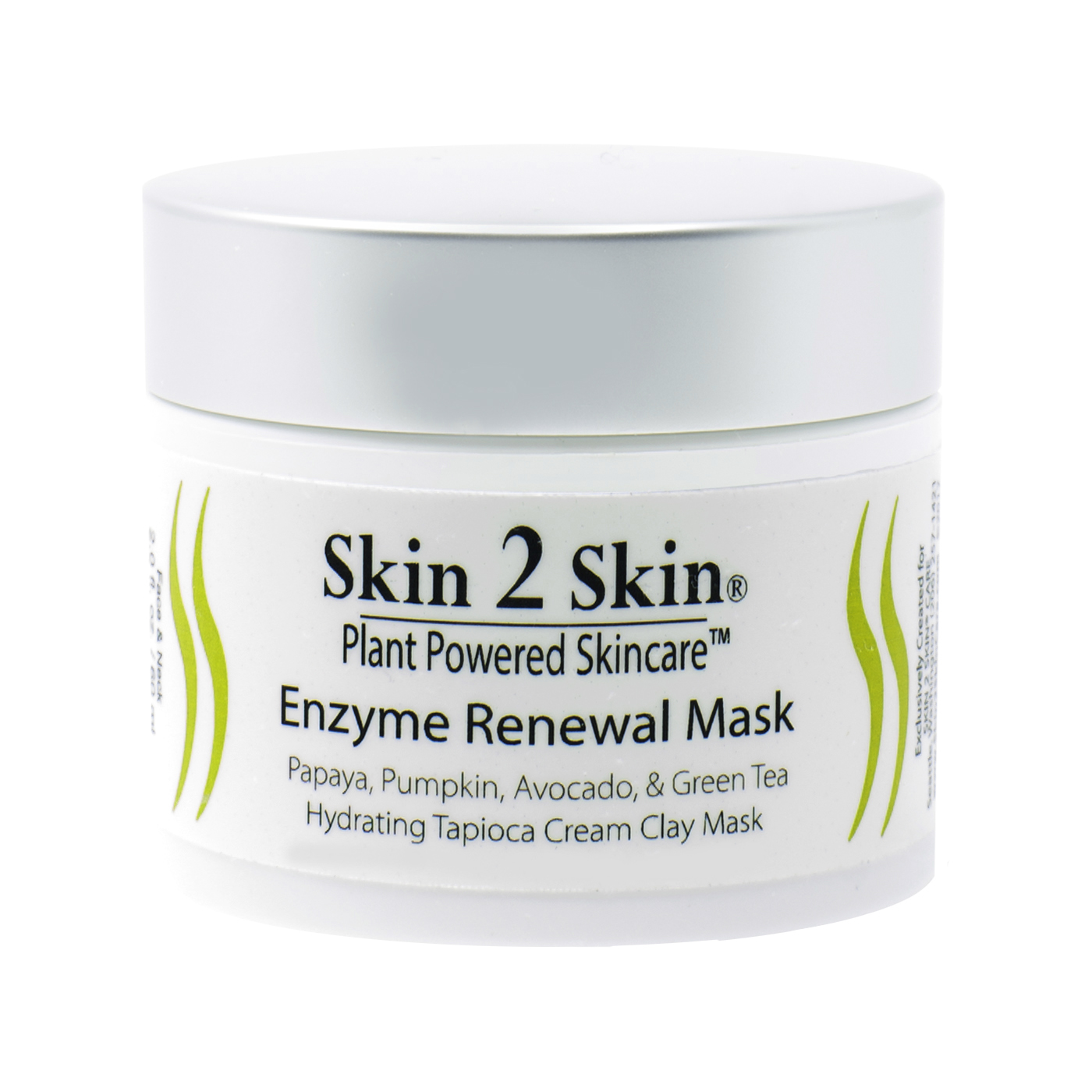 Skin 2 Skin Enzyme Renewal Mask, hydrating tapioca cream clay mask with Papaya, Pumpkin Seed, Avocado, and Green Tea
