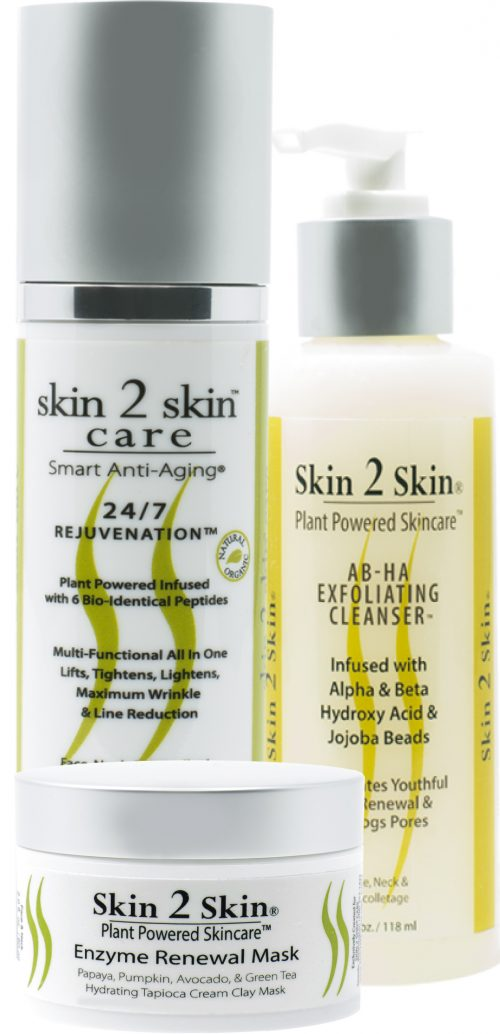 Skin 2 Skin's Skin Lightening 3 piece set 24/7 Rejuvenation, AB-HA Exfoliating Cleanser, Enzyme Renewal Mask