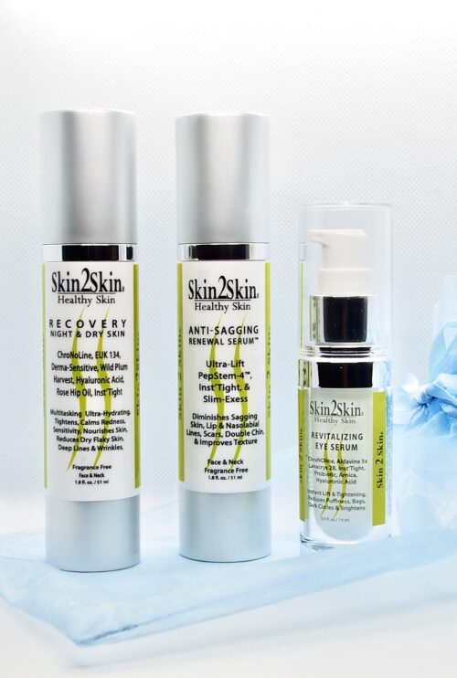 Skin2Skin Dry Skin Anti-Aging 3pc Set: Recovery, Revitalizing Eye Serum, Anti-Sagging Renewal Serum